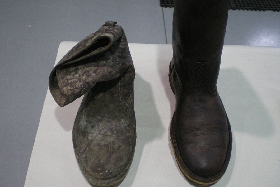 SMOKE AND SOOT DAMAGED LEATHER BOOT<br>These boots could not be restored using traditional cleaning methods but were restored using the Esporta Wash System