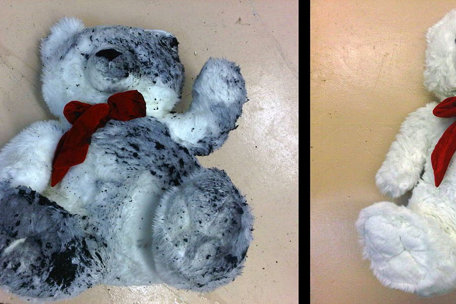 SOOT DAMAGED STUFFED ANIMAL<br>This stuffed animal was affected by soot and smoke.