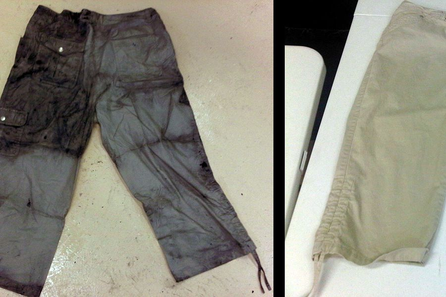 CLEANING SOOT DAMAGED CLOTHES<br>These soot damaged pants were restored in the Esporta Wash System.